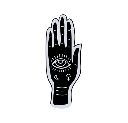 Fortune telling by hand and along the lines of fate, palmistry, prediction and fortune-telling. Black palm with eye tattoo. Simple vector witch sign, vintage design, occult symbol.
