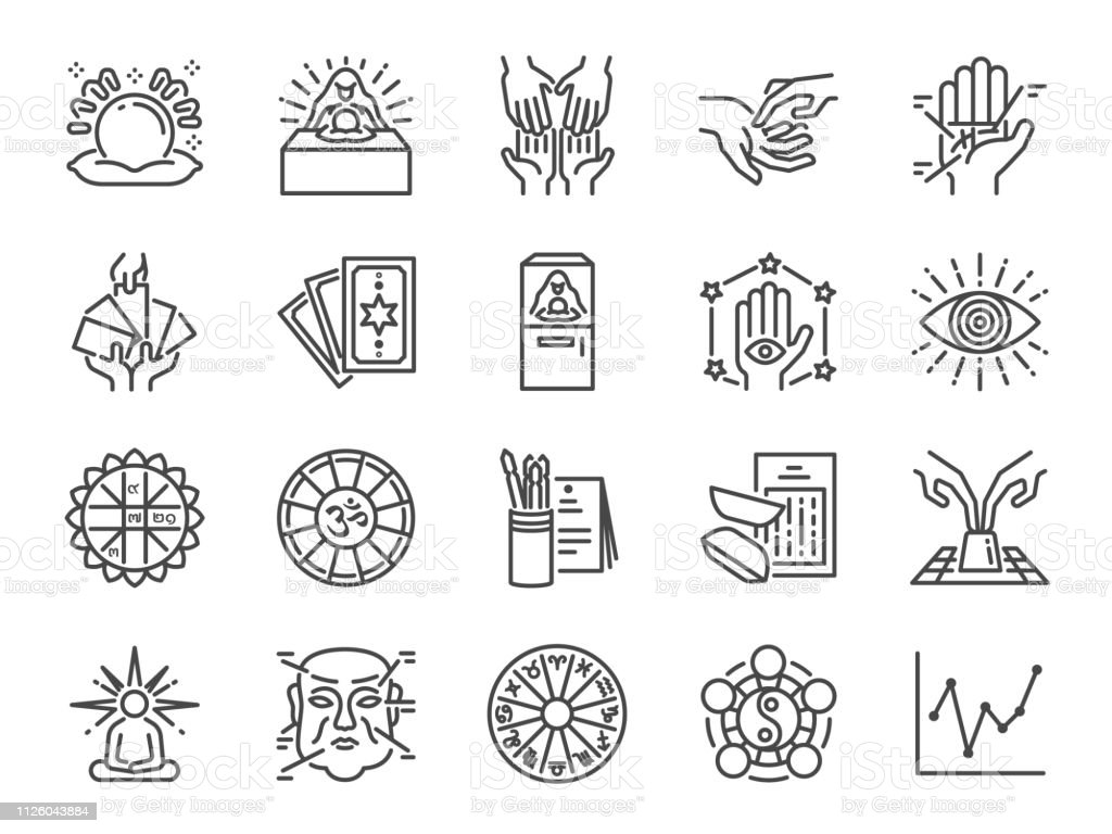 Fortune Telling Line Icon Set Included Icons As Fortunes Tarot