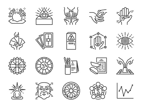 Fortune telling line icon set. Included icons as fortunes, tarot, palmistry, Chi-Chi Sticks, horoscope and more.