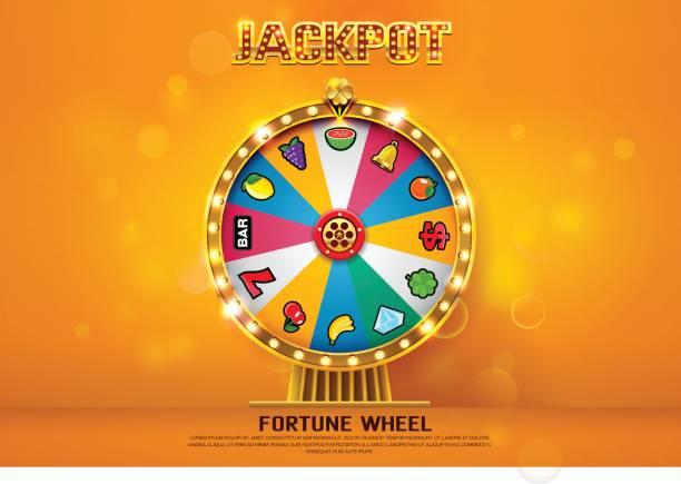 fortune wheel spinning  on bokeh background vector illustration fortune wheel spinning  on bokeh background vector illustration lottery stock illustrations