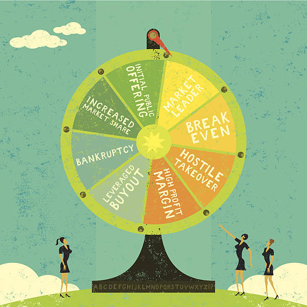 Fortune Wheel Businesswomen, uncertain of their company's future, roll the Fortune Wheel to guess what will happen. If you want to change the words there is an alphabet at the base of the Fortune Wheel and the letters are on a separate labeled layer. The women & Fortune Wheel are also on a separate labeled layer from the background. RETROROCKET stock illustrations