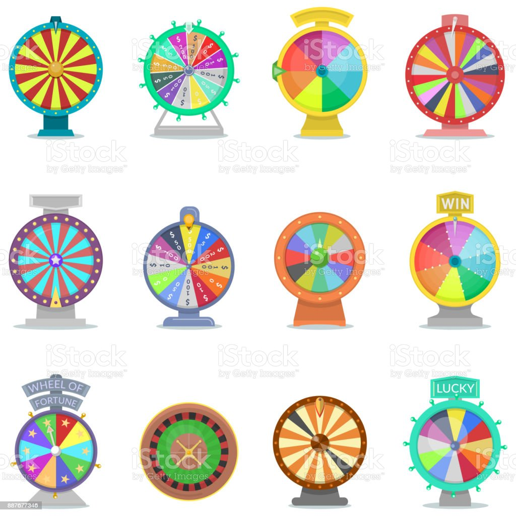 Fortune wheel vector spin game icons casino roulette with arrow lucky winner or bankrupt in fortunate wheeled lottery bet set illustration isolated on white background vector art illustration