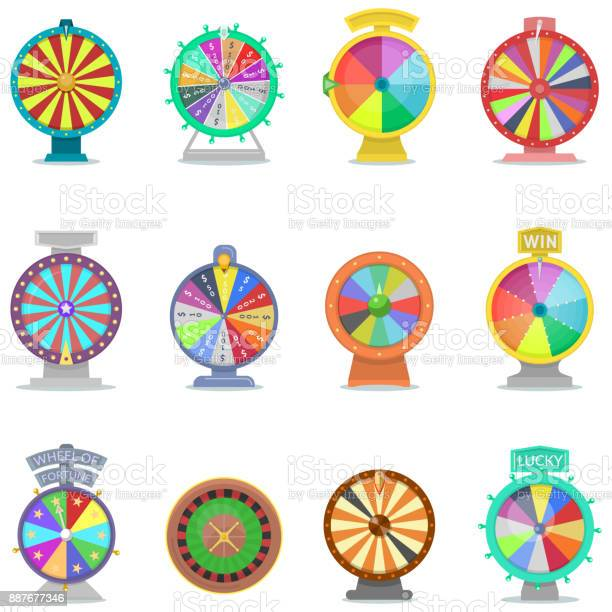 Fortune wheel vector spin game icons casino roulette with arrow lucky winner or bankrupt in fortunate wheeled lottery bet set illustration isolated on white background.