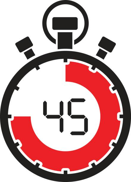 forty five minute stop watch countdown vector art illustration