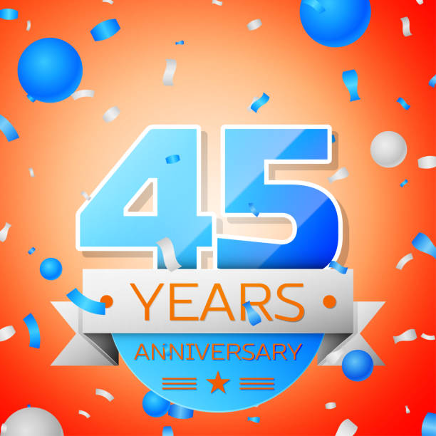 Forty five years anniversary celebration on orange background. Anniversary ribbon Forty five years anniversary celebration on orange background. Anniversary ribbon greeting card with the 45th anniversary stock illustrations