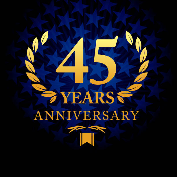 Forty Five years anniversary icon with blue color star shape background Vector of forty five years anniversary icon with blue color star shape background greeting card with the 45th anniversary stock illustrations