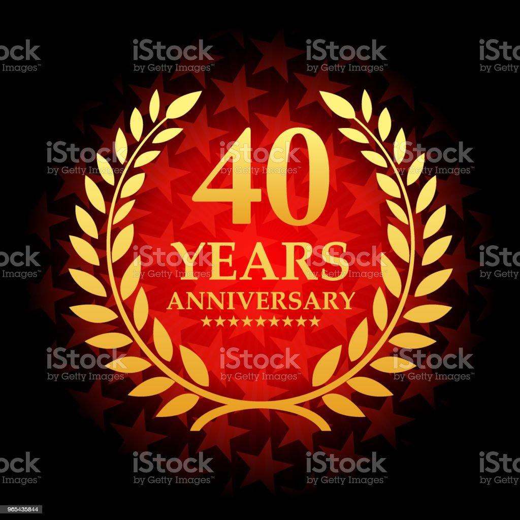 붉은 색 별 모양 배경으로 40 년 기념일 아이콘 - 로열티 프리 40 벡터 아트