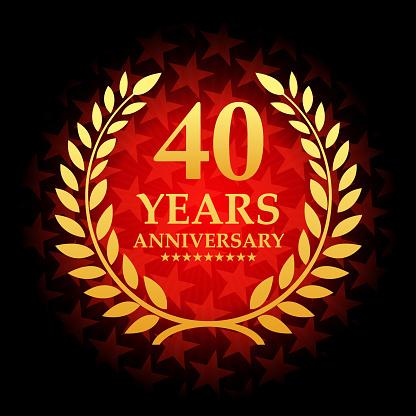 붉은 색 별 모양 배경으로 40 년 기념일 아이콘 40에 대한 스톡 벡터 아트 및 기타 이미지