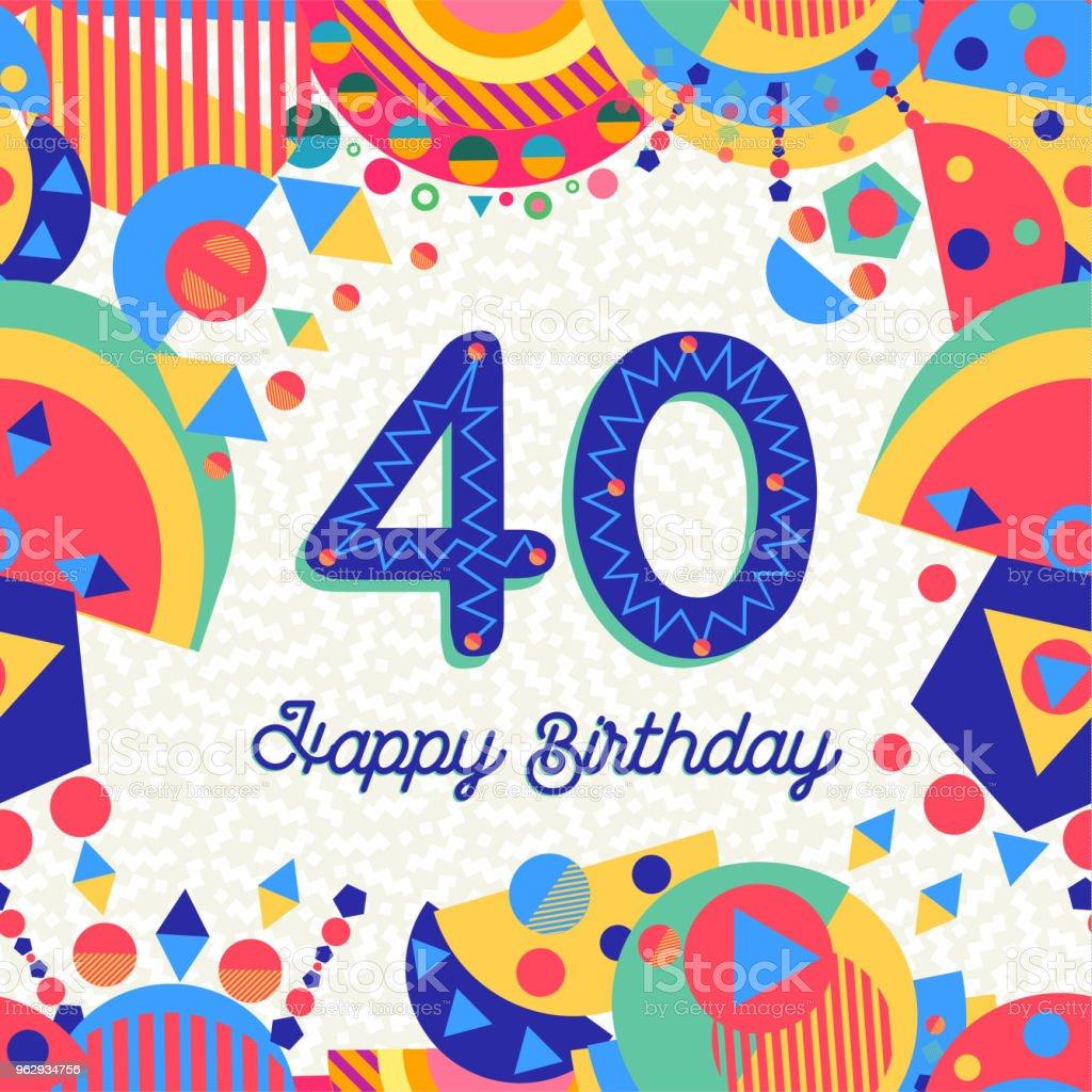 Ilustración De Fiesta De 40 Cumpleaños Cuarenta Años Tarjeta
