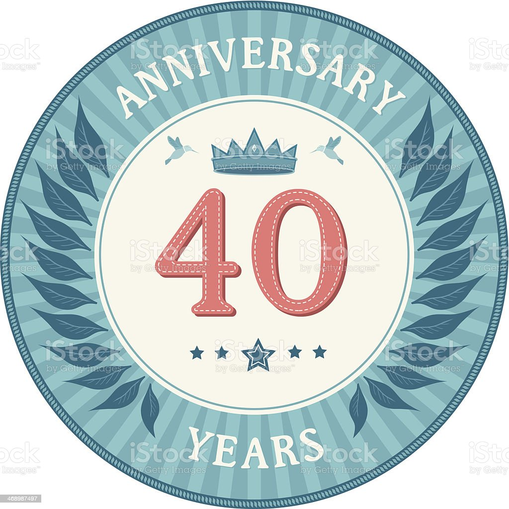 Forty Years Anniversary Badge royalty-free stock vector art