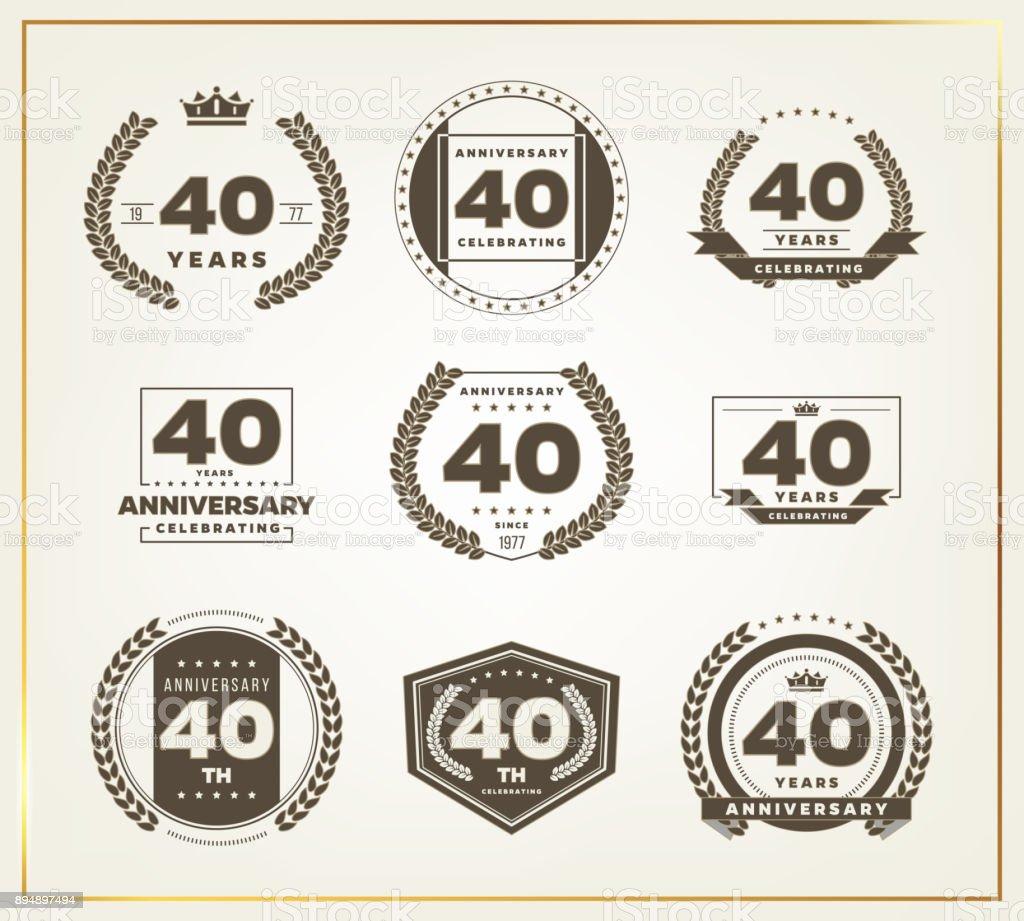 Forty Years Anniversary Celebration Logotype 40th Anniversary Logo