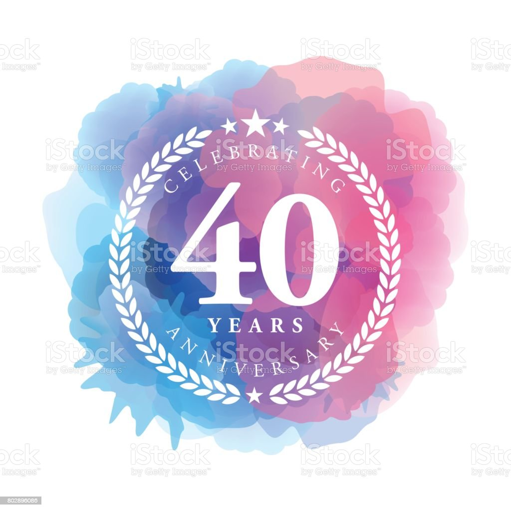 Forty Years Anniversary Emblem on blue color watercolor background vector art illustration