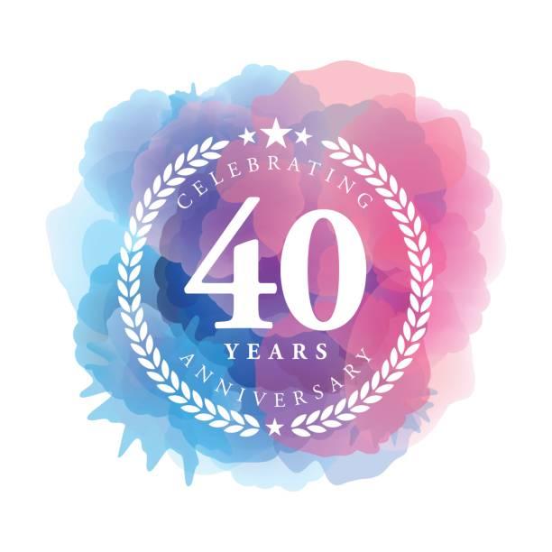 ilustrações, clipart, desenhos animados e ícones de quarenta anos aniversário emblema na cor azul de fundo aquarela - data especial