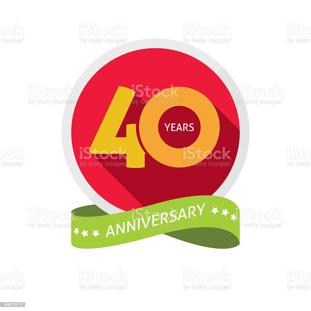 Forty years anniversary logo, 40 year birthday sticker label vector art illustration