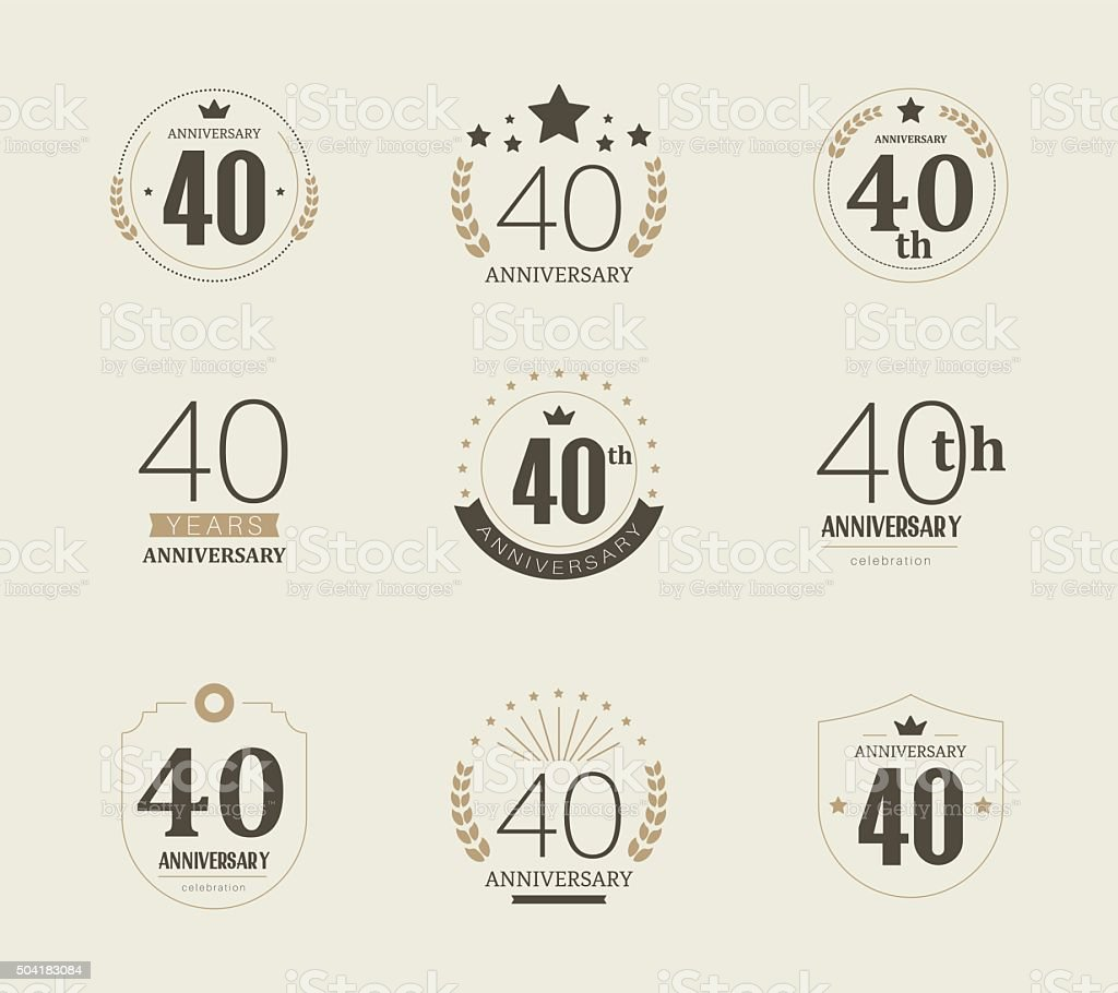 Forty Years Anniversary Logo 40th Anniversary Vintage Logotype Stock