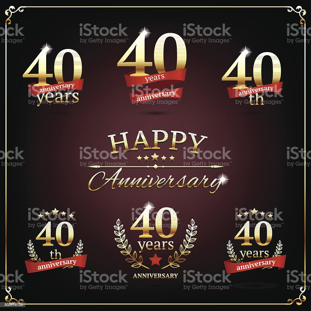 Forty years anniversary signs collection vector art illustration