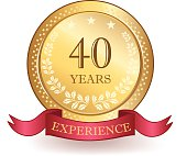 Gold, decorative forty years experience banner.