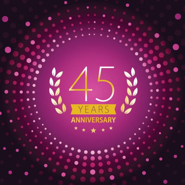 Forty-five years anniversary icon with purple color background Vector of 45 years anniversary icon with purple color dot pattern background. EPS Ai 10 file format. greeting card with the 45th anniversary stock illustrations