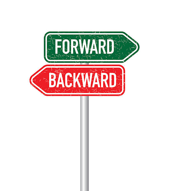 Forward and backward signpost Forward and backward signpost bending over backwards stock illustrations