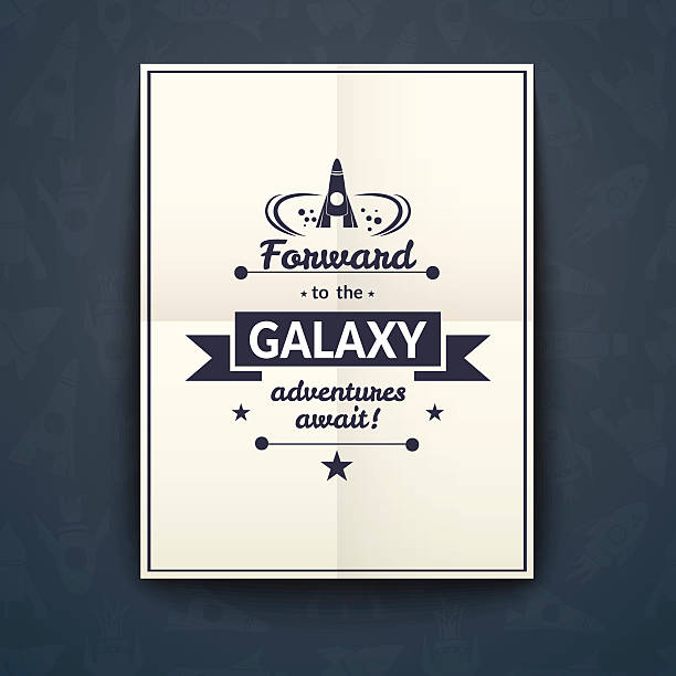 forward to the galaxy poster, vector illustration - abstract of paper spaceship launch to space stock illustrations, clip art, cartoons, & icons