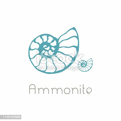 Fossil ammonite nautilus seashell vector design. Hand drawn illustration for spa salon, seafood cafe, restaurant, corporate identity. Isolated vector of ancient ammonite fossil. Object for design, card.
