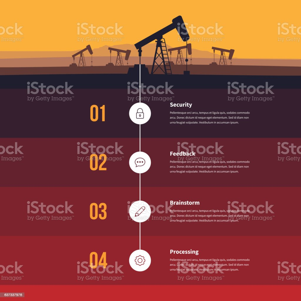 Fossil Energy Infographic vector art illustration