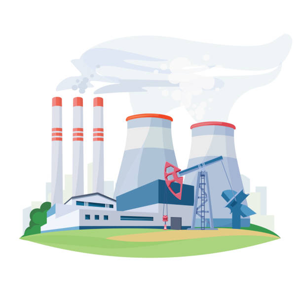 Fossil fuel power station factory with environmental pollution pipes. Oil production plant. Vector vector art illustration