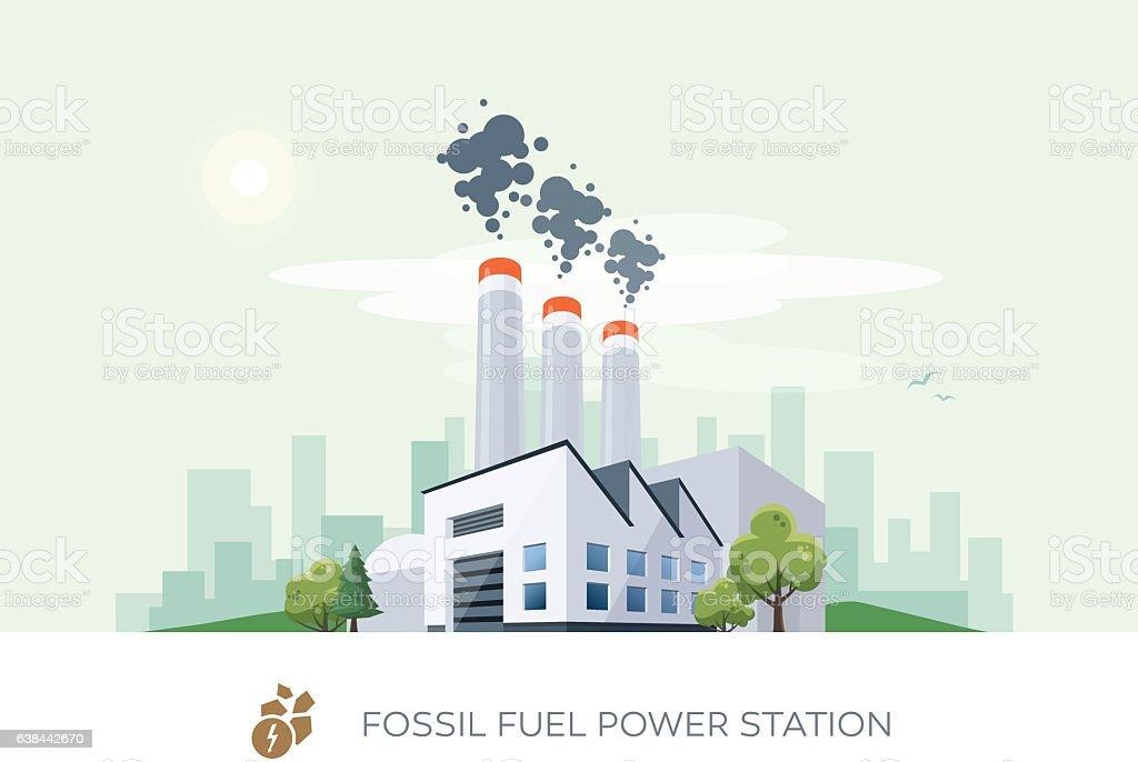 Fossil Fuel Power Station vector art illustration