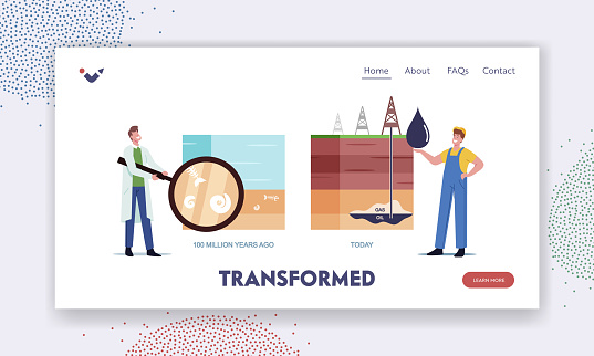 Fossil Resource Exploring Landing Page Template. Scientist and Worker Character Presenting Oil and Gas Natural Formation