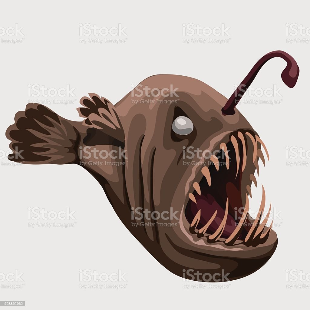 Fossil toothy brown fish lamp, image isolated vector art illustration