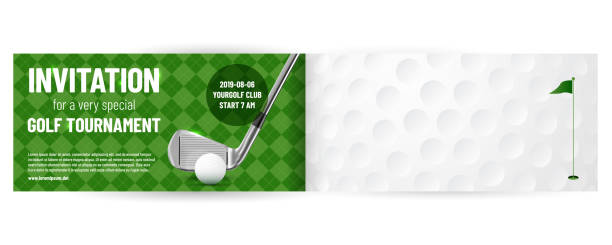 Fotobanky-obdélník horizontal Golf tournament invitation template with sample text in separate layer - vector illustration green golf course stock illustrations