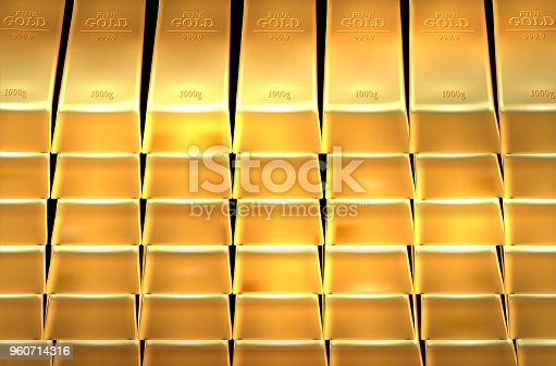 Background from shiny gold bars - vector illustration
