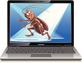 A bug on a laptop screen fleeing from spotlights. EPS 10 (image contains transparencies), grouped and labeled in layers.