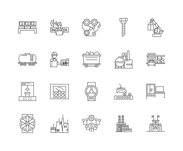 stiftungen zeile icons, zeichen, vektor-set, umrissbilder konzept - metallverarbeitung stock-grafiken, -clipart, -cartoons und -symbole