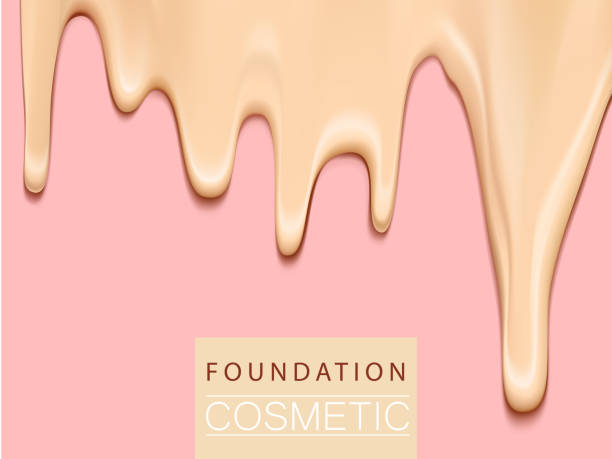foundation liquid texture, creamy skin tone foundation in 3d illustration, extreme close up look - makeup stock illustrations