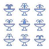 Fountain icon set. Vector isolated flat illustration.