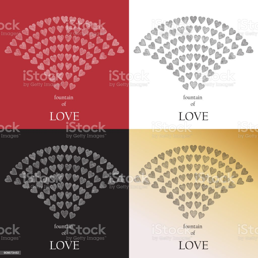 Fountain Of Love Set Of Fancy Vector Abstract Valentine Day Greeting