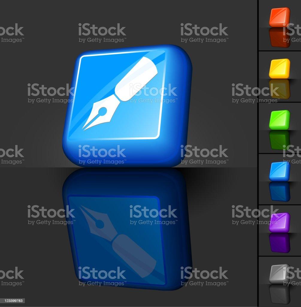fountain pen 3D button design royalty-free stock vector art