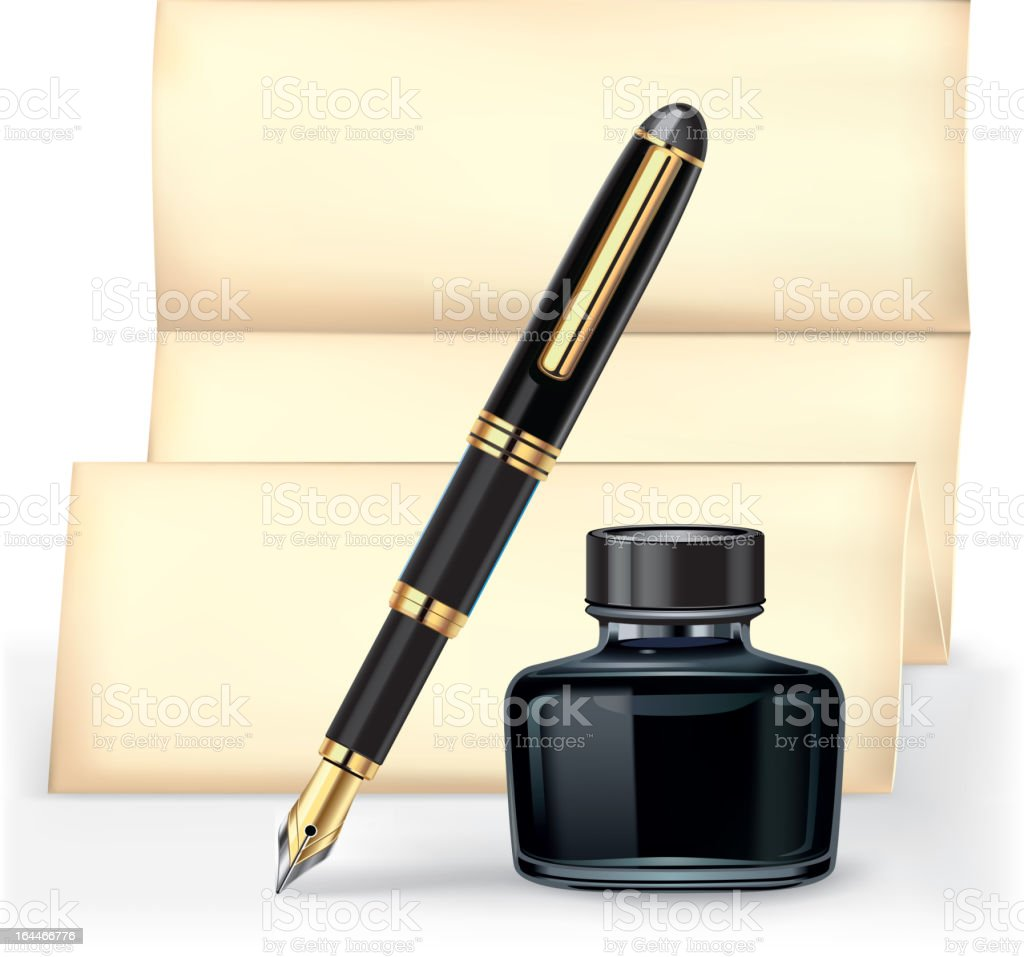 Fountain pen and the Ink bottle with letter paper. royalty-free stock vector art