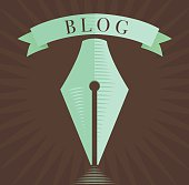 Fountain pen icon, blog symbol in engraved style