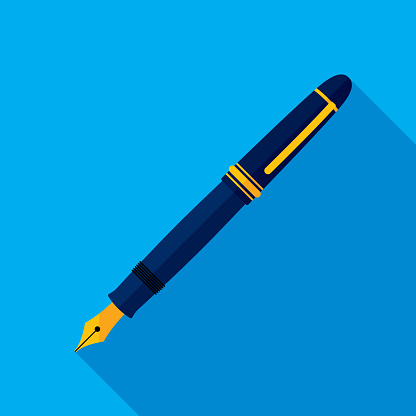 Vector illustration of a fountain pen against a blue background in flat style.