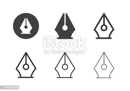 Fountain Pen Icons Multi Series Vector EPS File.