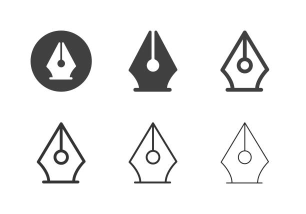 fountain pen icons - multi series - pióro wieczne stock illustrations