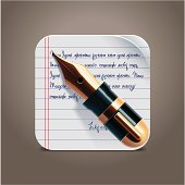 Fountain pen on notepad square icon