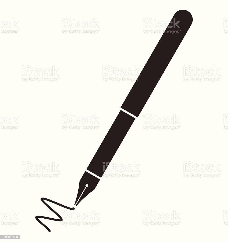 Fountain pen symbol vector art illustration