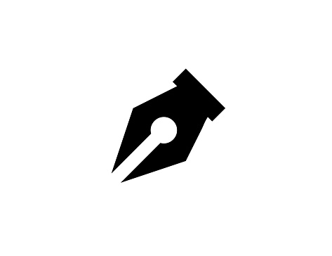 Fountain pen vector icon. Isolated Ink Pen, Signature sign flat illustration symbol - Vector