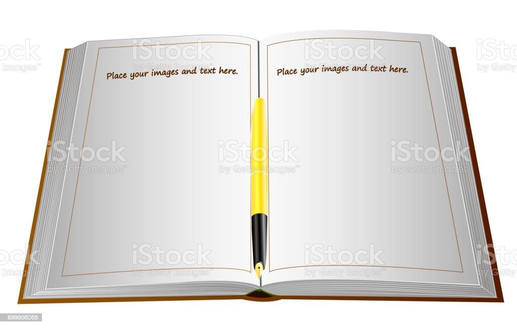 Fullfederhalter Mit Einer Goldenen Feder Auf Ein Grosses Offenes Buch