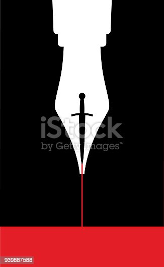 Vector illustration  of a white fountain pen with a black dagger nib and red ink.