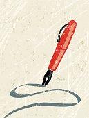 Fountain Pen writing a Line