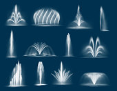 Fountain water jets isolated vector cascades and single splashing streams, 3d water jets spurt up. Waterworks elements for park decoration and design. Realistic multiple geysers flows eruption set